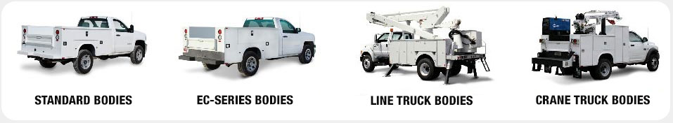 Photos of 4 different kinds of trucks