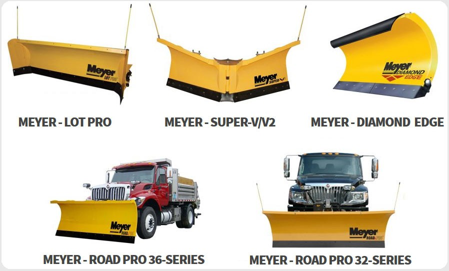 Five different snow plows