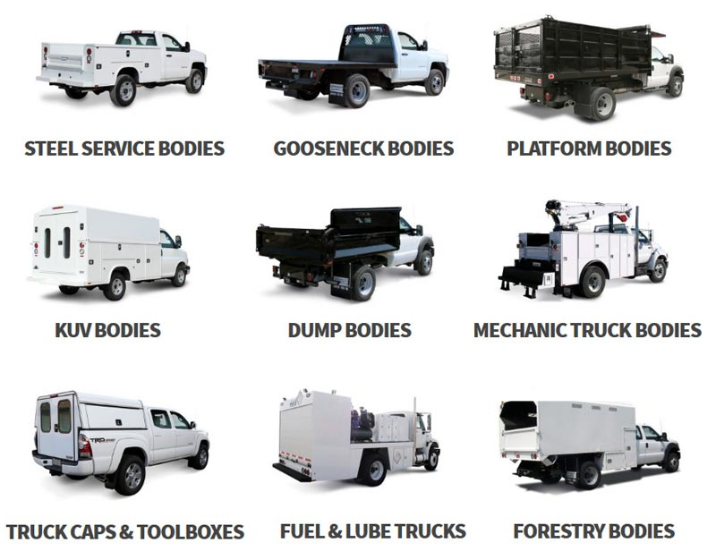 Nine different truck bodies displayed as a grid