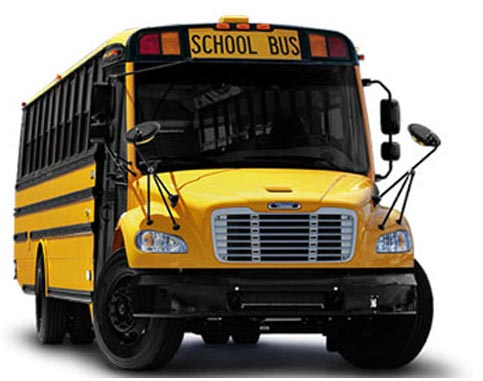 Front view of yellow school bus