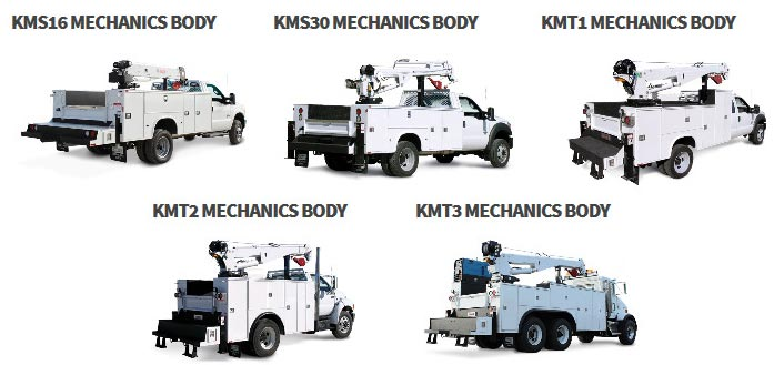 Five different truck bodies listed in grid