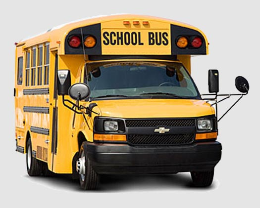 Front view of yellow shorter school bus