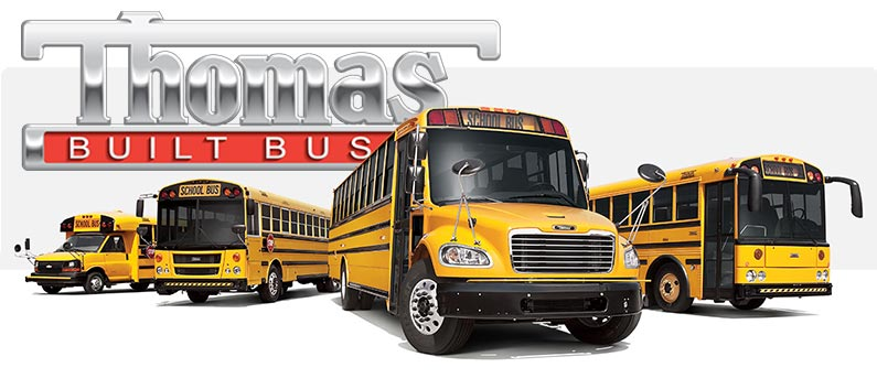 Thomas Built Buses logo with buses