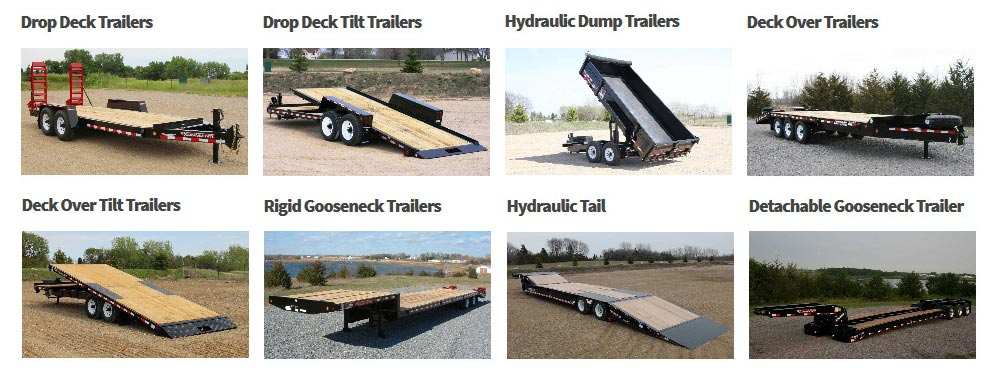 Eight photos of towmaster trailers in grid