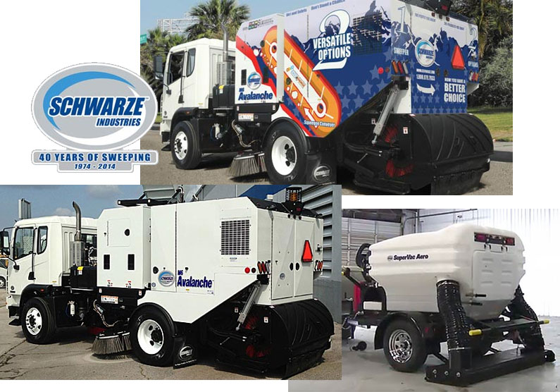Collage of photos of sweeper trucks