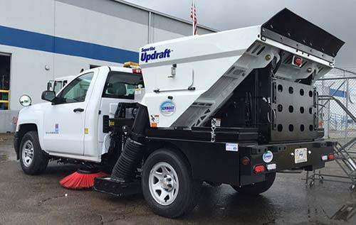 Updraft sweeper truck