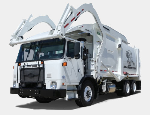 Front view of large white garbage truck