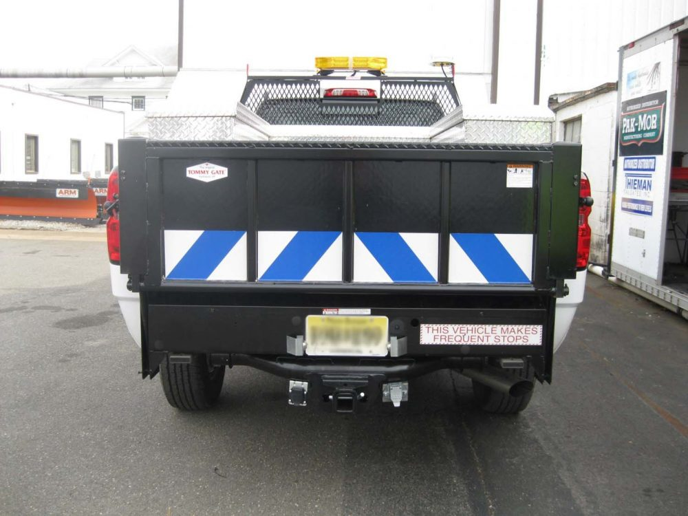 Rear view of utility truck