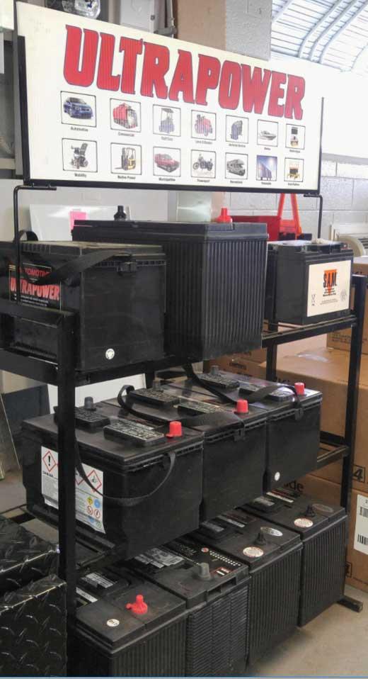 ULTRAPOWER car batteries on shelves in store