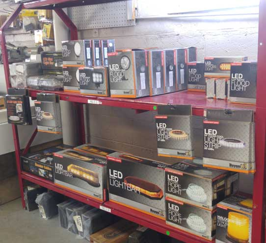 Truck parts on shelves