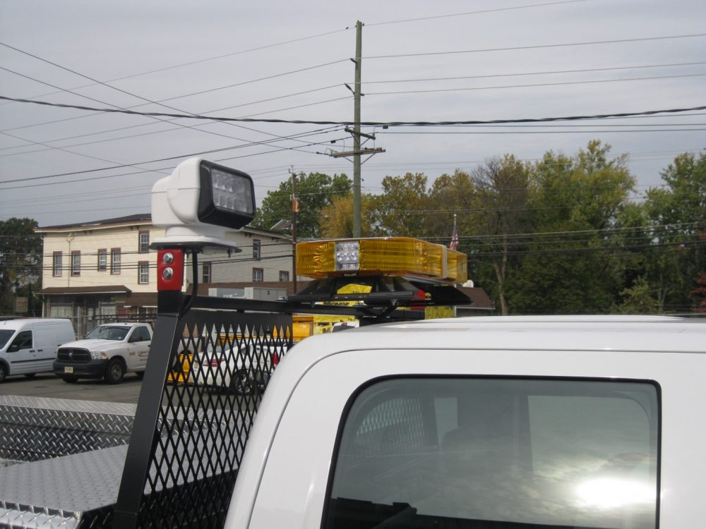 Service lights on top of utility truck