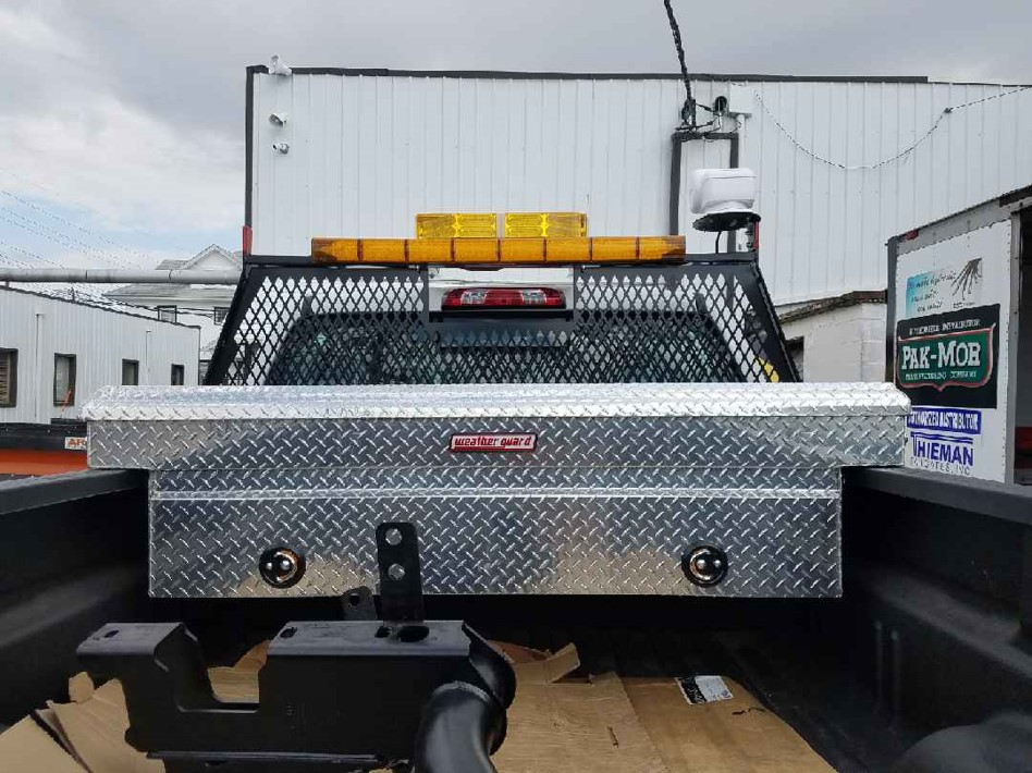 Stainless steel tool box in truckbed