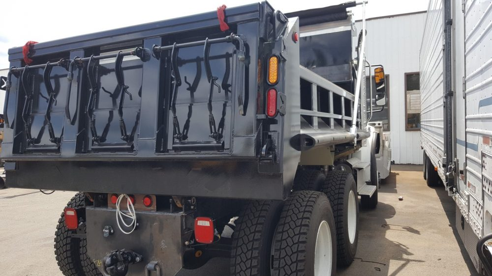 Back view of 10-wheeled truck