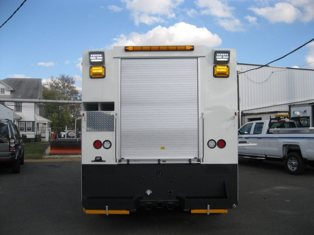 Rear view of large white truck