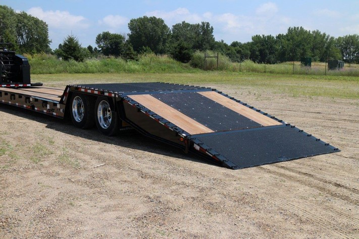 Close up of black Towmaster trailer with loading lift