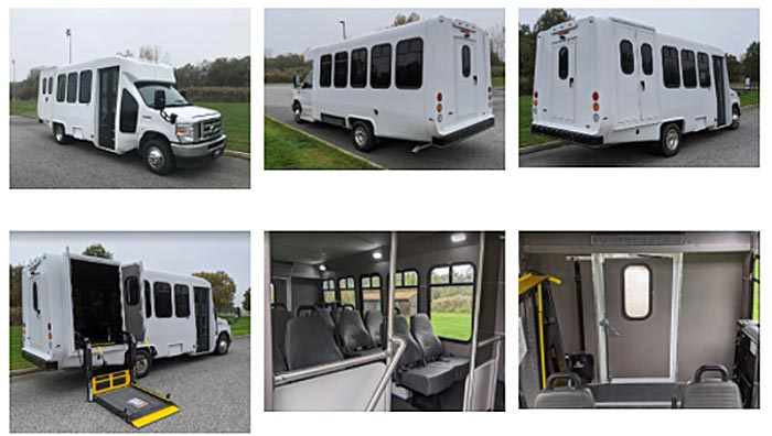 Collage of 6 photos of the white bus